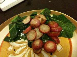 Collard Greens with Pan-fried Radishes